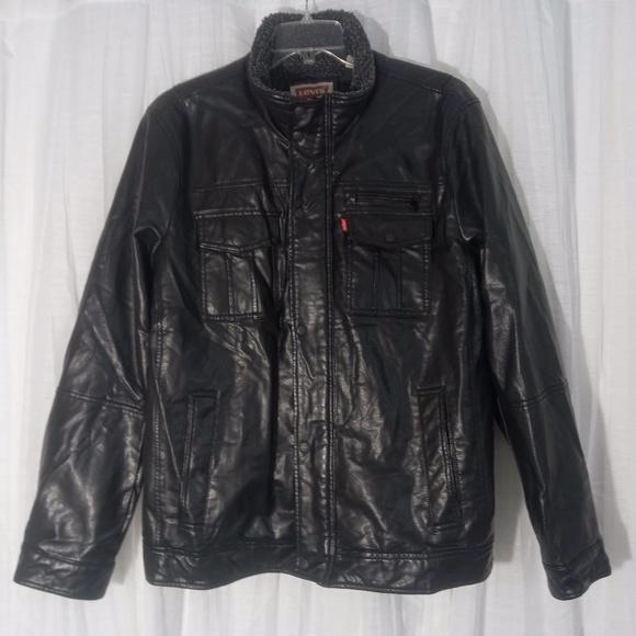 LEVI'S Black Faux Leather Trucker Jacket Sherpa Coat Racer Motorcycle Men XL